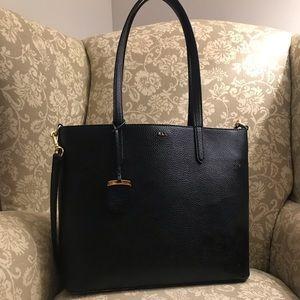 Lauren Ralph Lauren Black Pebbled Leather Tote